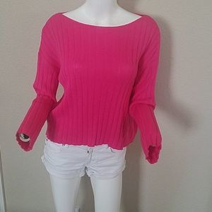 BP. Ribbed Boatneck Pink Boxy Cropped Sweater